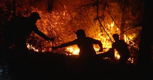 Cận cảnh xuyên đêm chiến đấu giặc lửa cứu rừng