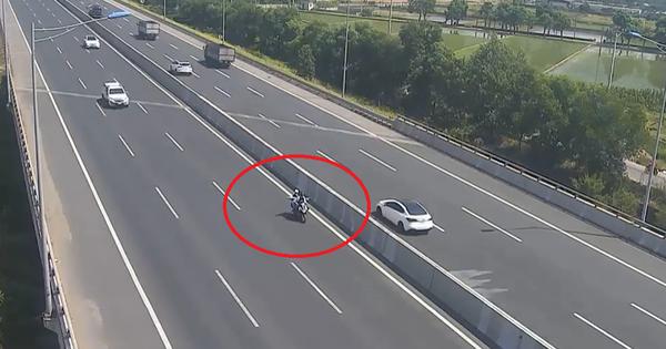 Liều lĩnh chạy xe máy vào đường cao tốc Hà Nội – Hải Phòng