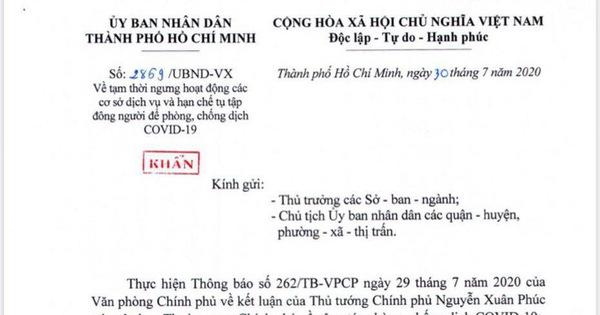 Tp Hcm Gửi Cong Văn Khẩn Từ 0h Sang 31 7 Cấm Tụ Tập Qua 30 Người đong Cửa Bar Vũ Trường Tuổi Trẻ Online