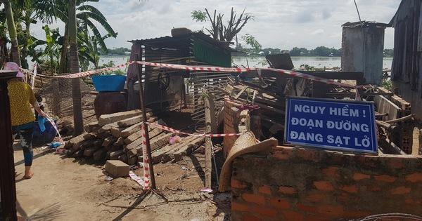 Bờ sông Hậu sạt lở mạnh, di dời khẩn cấp hàng chục nhà dân