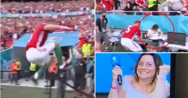 Ghi bàn gây 'sốc' trước Pháp, cầu thủ Hungary ăn mừng khiến nữ phóng viên 'thót tim'
