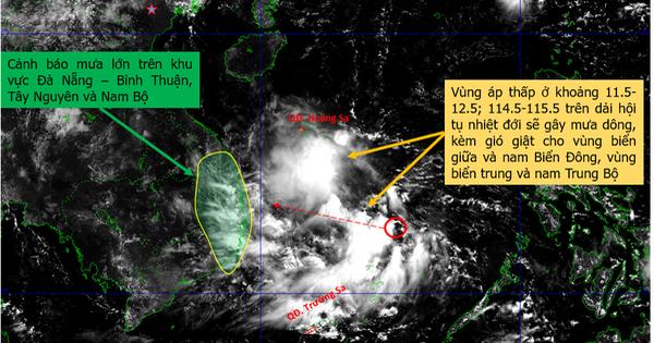 Vùng áp thấp ở Biển Đông hướng vào Trung Bộ, gây ra đợt mưa lớn cho Tây Nguyên, Nam Bộ